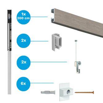 Complete starter set click rail alu 200 cm