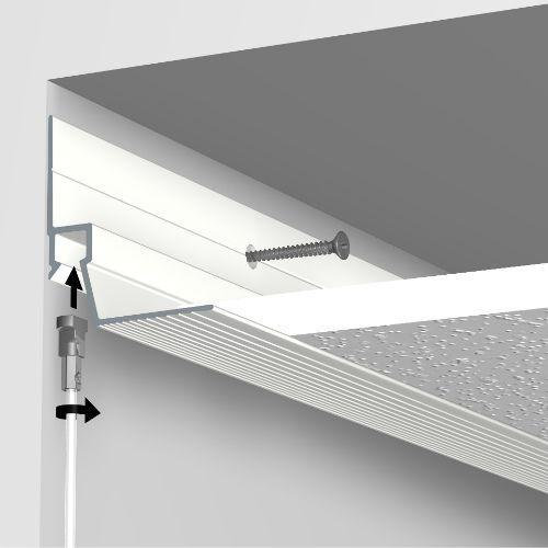 Artiteq Ceiling Strip aan de wand bij systeemplafond