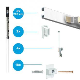 Complete starter set Artiteq wit primer Click Rail 3x 200cm rail/ 600cm ophangsysteem incl. haken en koorden
